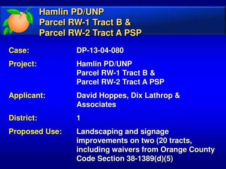 Hamlin PD/UNP