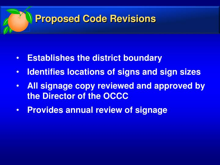 Proposed Code Revisions