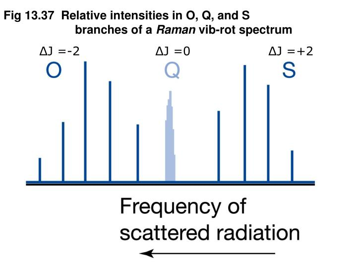 Fig 13.37  Relative intensities in O, Q, and S branches of a