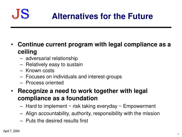 Alternatives for the Future