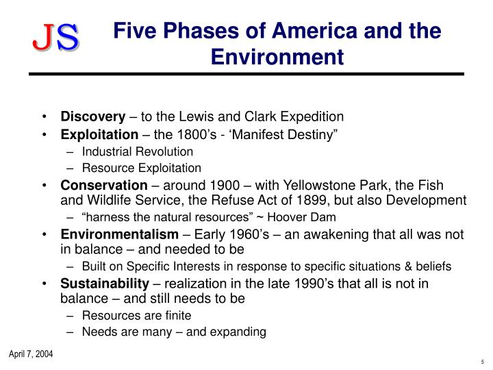 Five Phases of America and the Environment