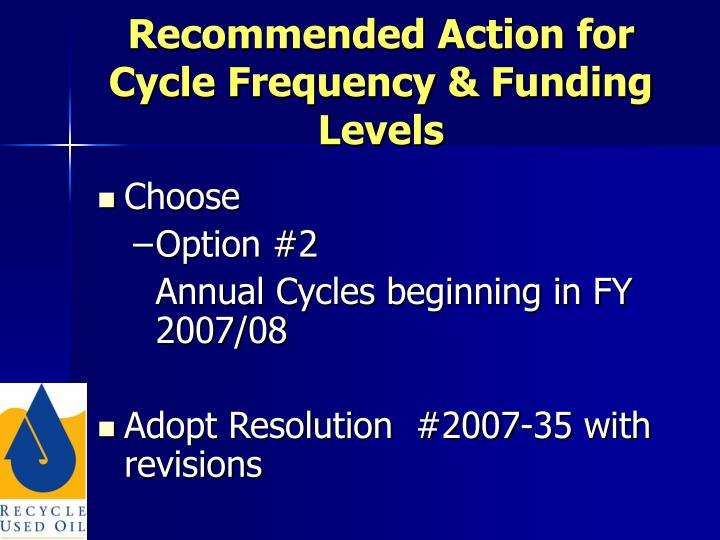 Recommended Action for Cycle Frequency & Funding Levels