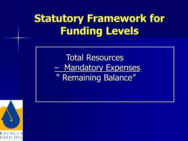 Statutory Framework for Funding Levels