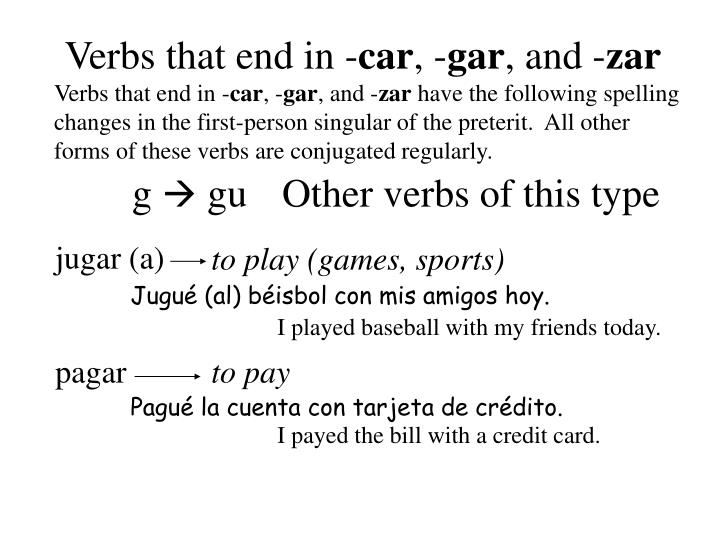 Verbs that end in -