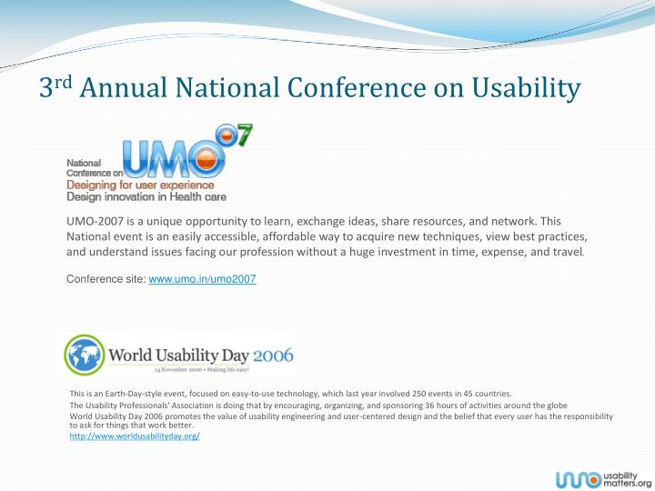 3 rd annual national conference on usability