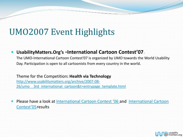 UMO2007 Event Highlights