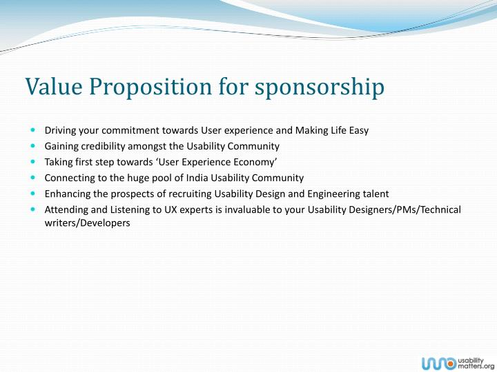 Value Proposition for sponsorship