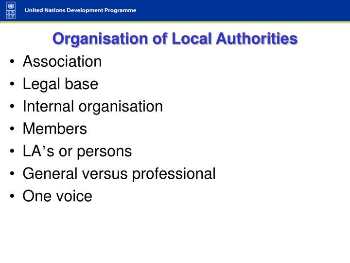 Organisation of Local Authorities