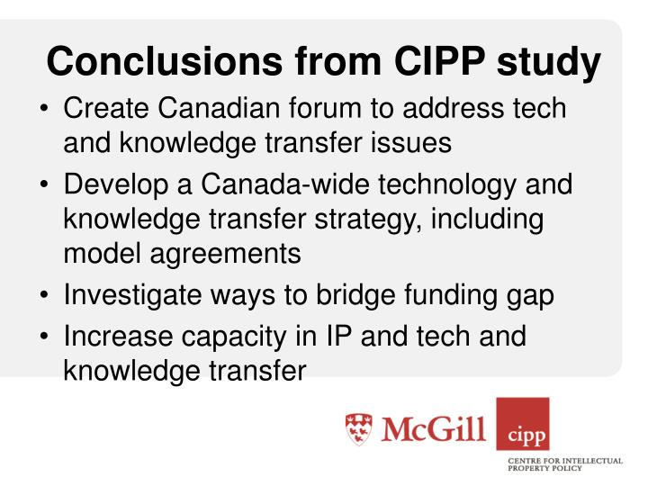 Conclusions from CIPP study