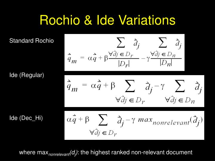 Rochio & Ide Variations