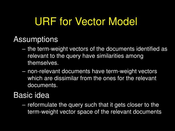 URF for Vector Model