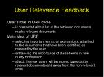 user relevance feedback