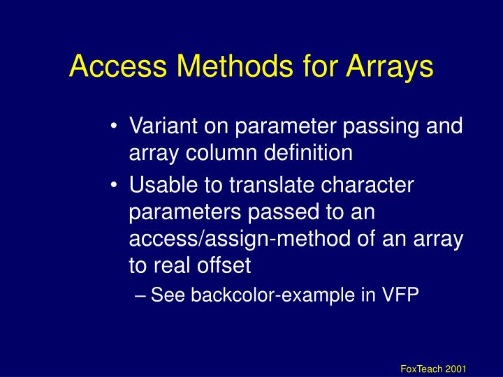 Access Methods for Arrays