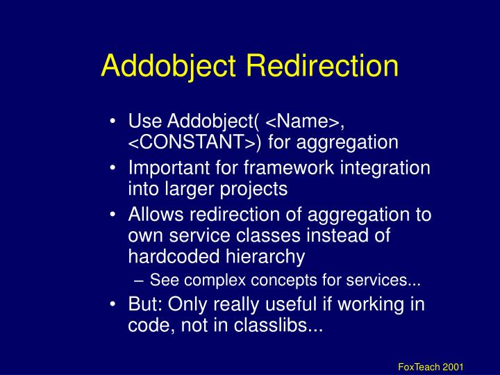 Addobject Redirection