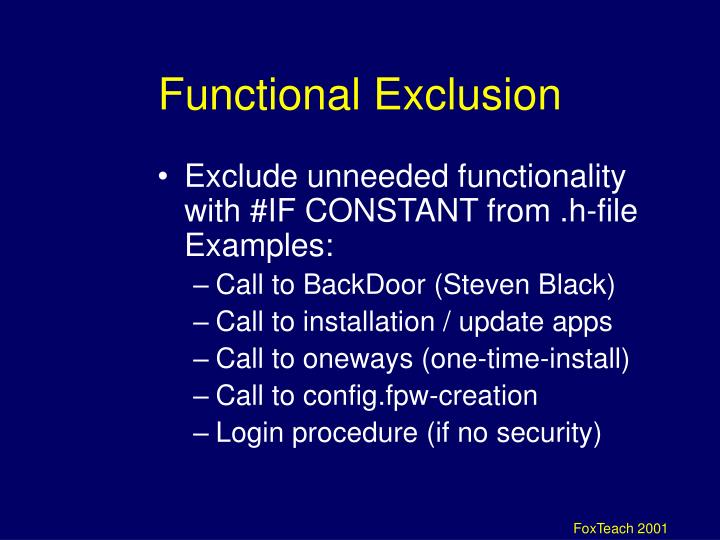 Functional Exclusion
