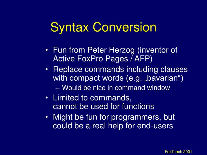 Syntax Conversion