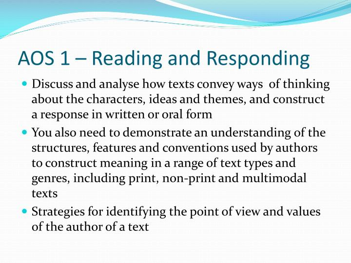 AOS 1 – Reading and Responding