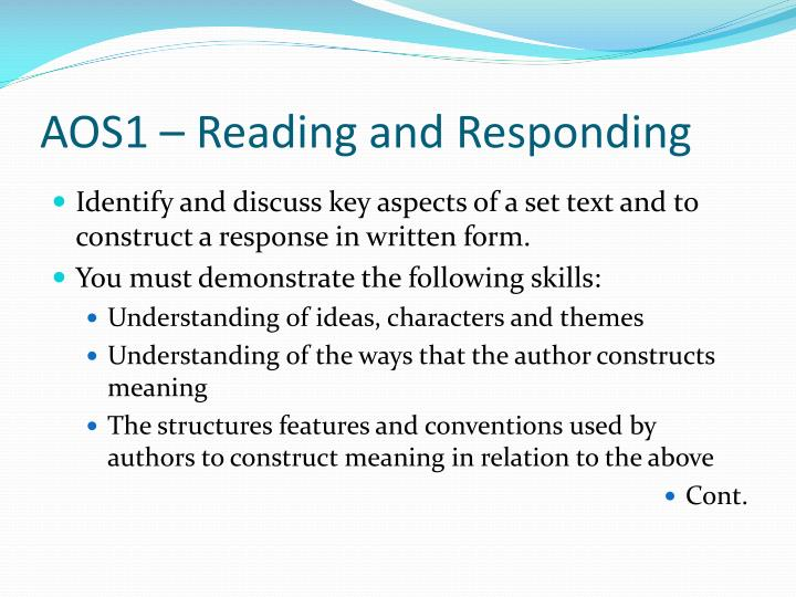 AOS1 – Reading and Responding