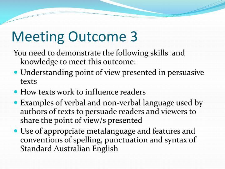 Meeting Outcome 3