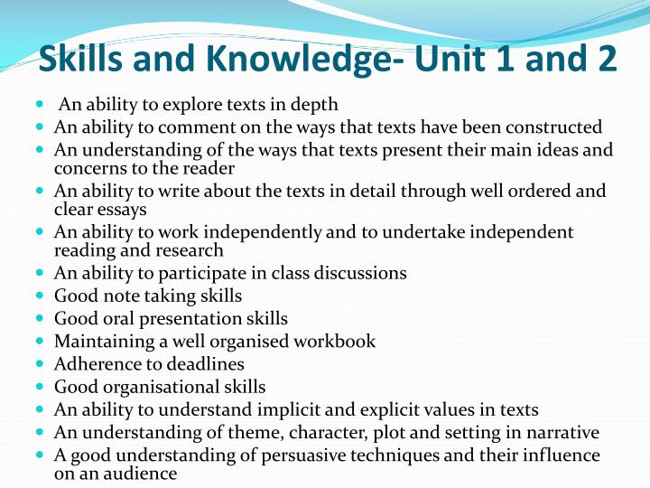 Skills and Knowledge- Unit 1 and 2