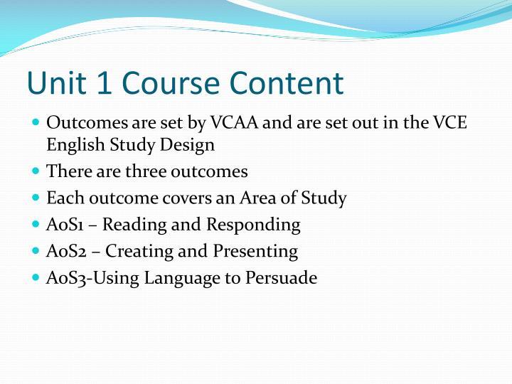 Unit 1 Course Content