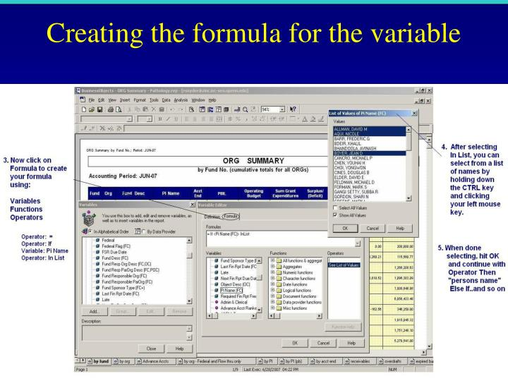 Creating the formula for the variable