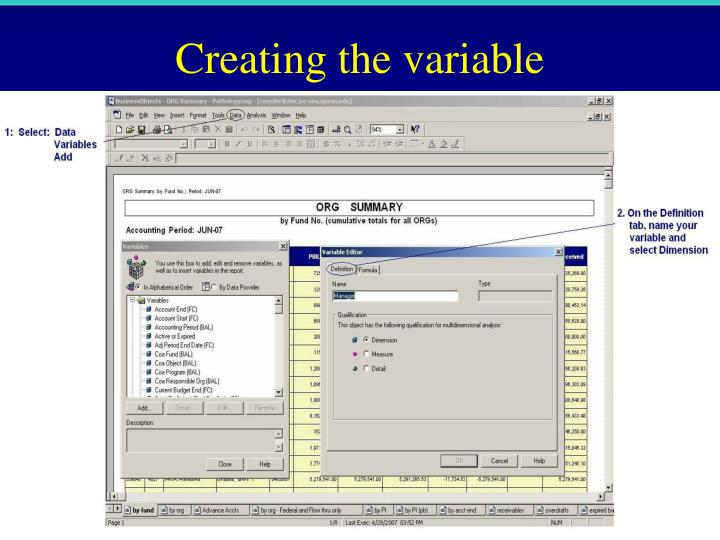 Creating the variable