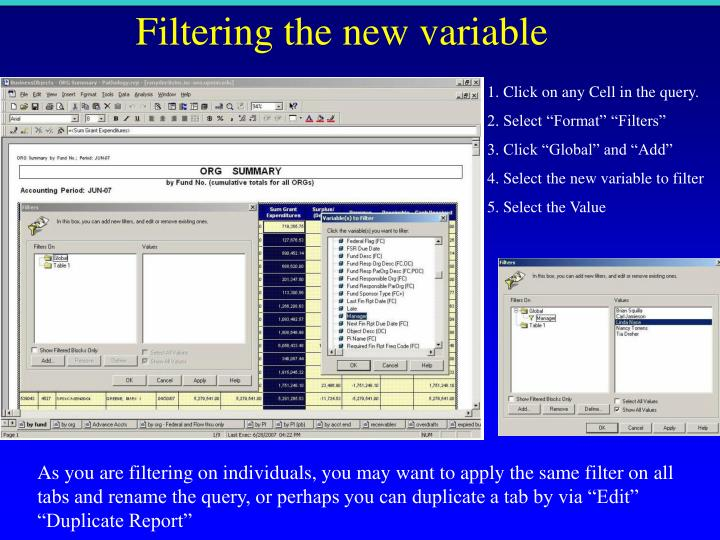 Filtering the new variable
