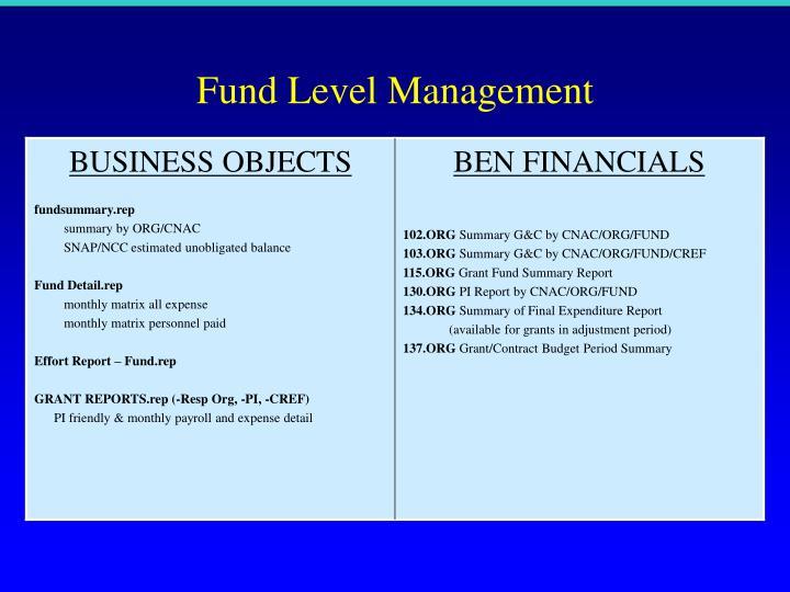 Fund Level Management
