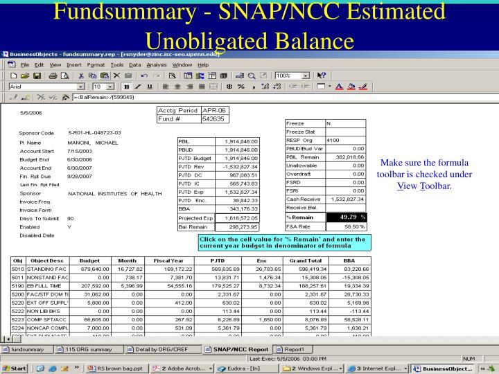 Fundsummary - SNAP/NCC Estimated Unobligated Balance