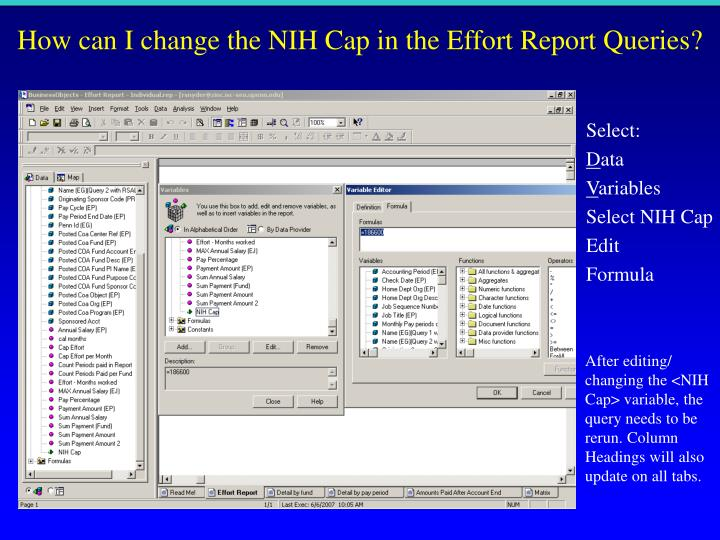 How can I change the NIH Cap in the Effort Report Queries?