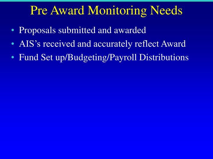 Pre Award Monitoring Needs