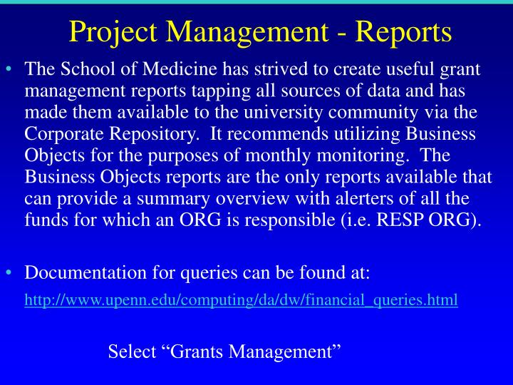 Project Management - Reports