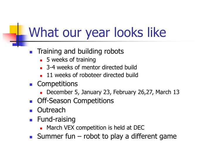 What our year looks like