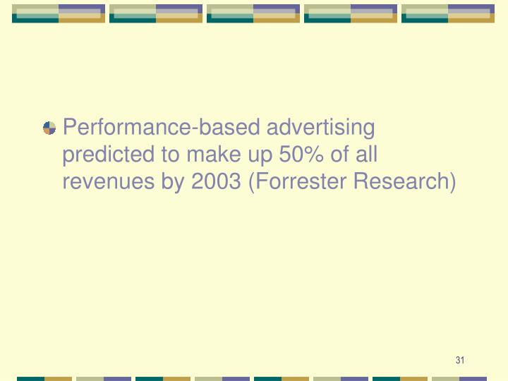 Performance-based advertising predicted to make up 50% of all revenues by 2003 (Forrester Research)