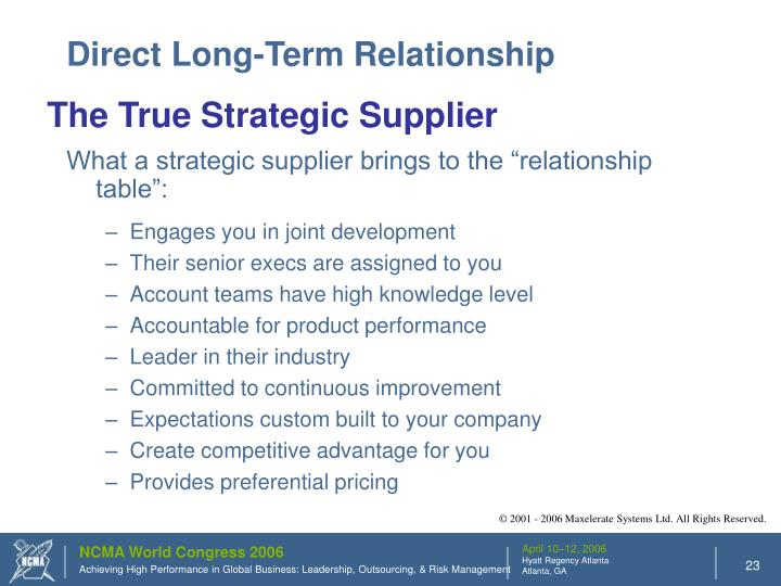 Direct Long-Term Relationship