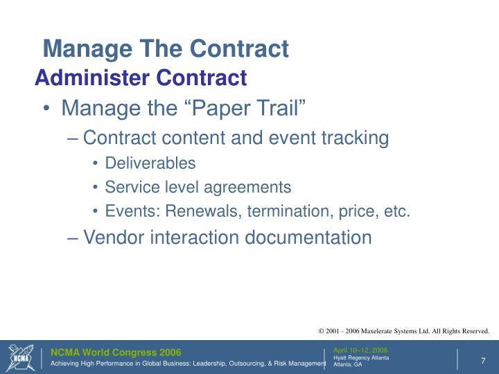 Manage The Contract