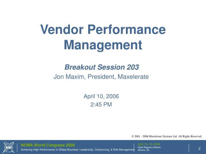 Vendor Performance Management