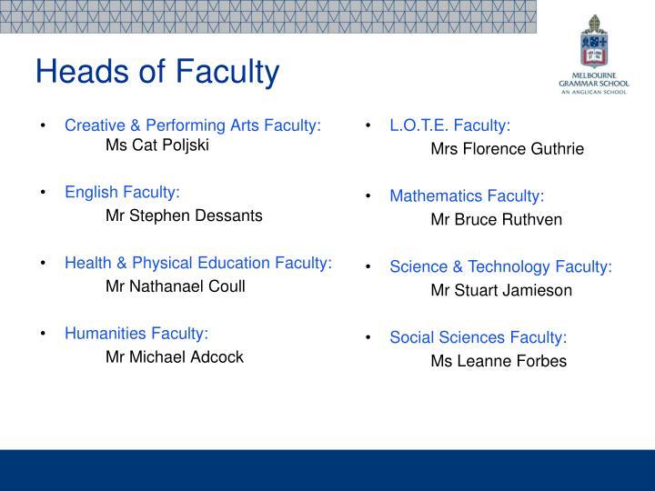 Creative & Performing Arts Faculty:
