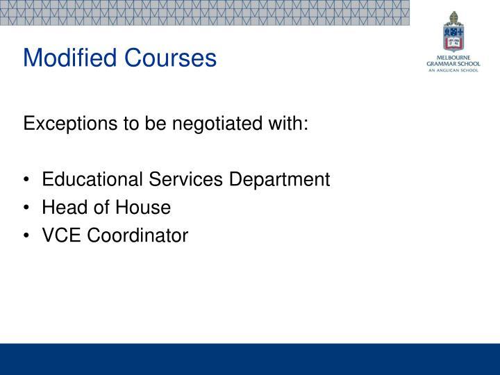 Modified Courses