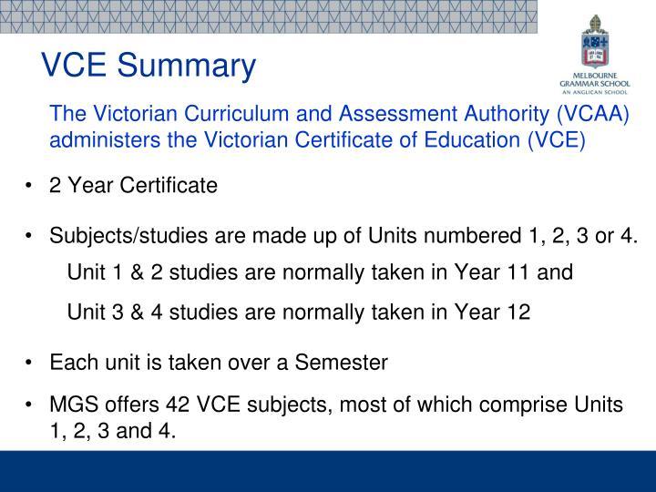 VCE Summary