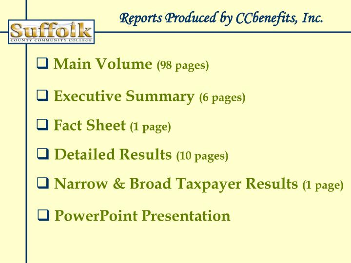 Reports Produced by CCbenefits, Inc.