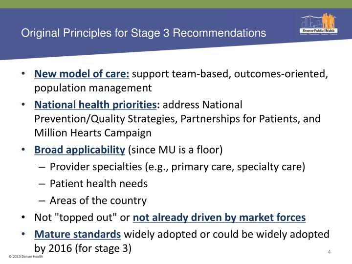 Original Principles for Stage 3 Recommendations