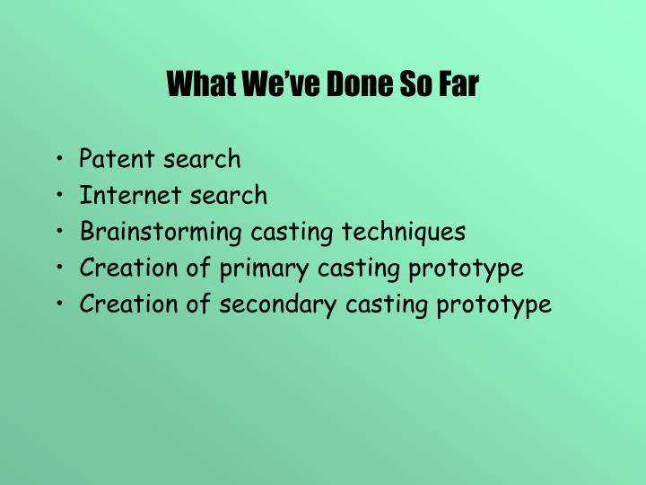 What We've Done So Far