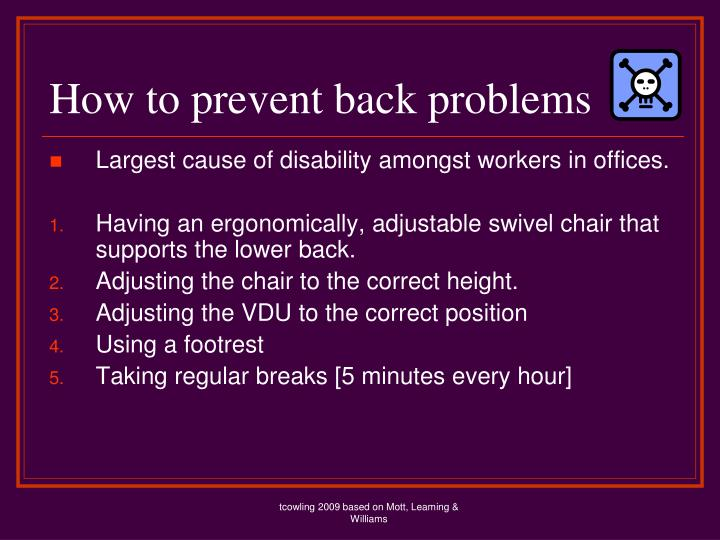 How to prevent back problems