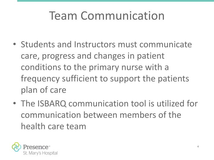 Students and Instructors must communicate care, progress and changes in patient conditions to the primary nurse with a frequency sufficient to support the patients plan of care
