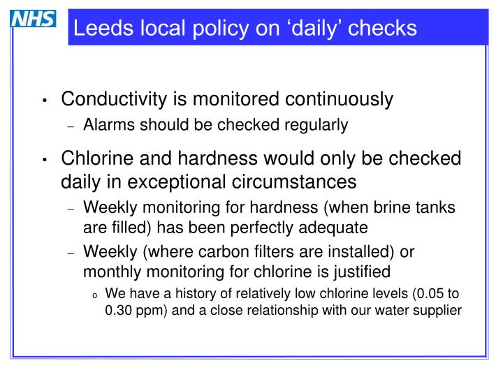 Leeds local policy on 'daily' checks