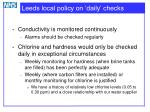 leeds local policy on daily checks