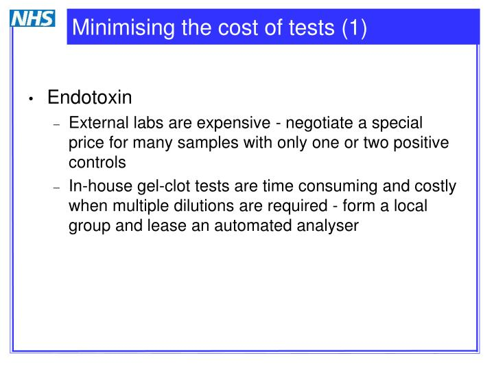 Minimising the cost of tests (1)
