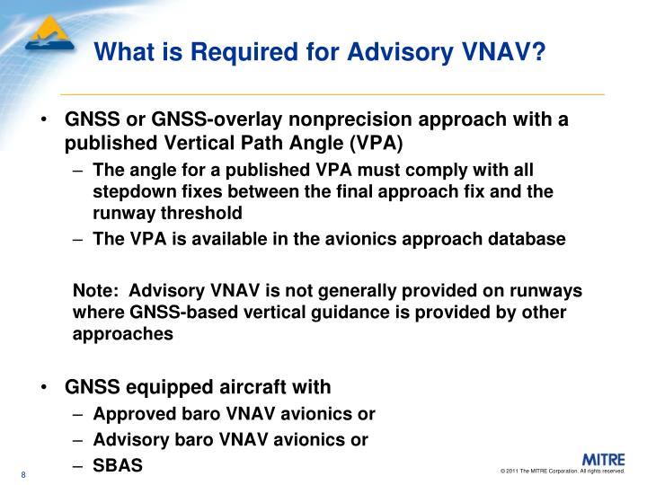 What is Required for Advisory VNAV?